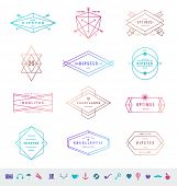 Vector set of colored hipster line emblems signs and symbols