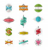 Vector set of colored hipster line signs and emblems