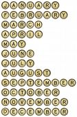 twelve months  from January to December in isolated vintage typewriter keys