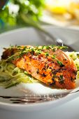 stock photo of salmon steak  - Salmon Steak with Zucchini Noodles - JPG