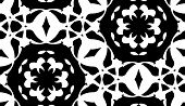 stock photo of doilies  - Seamless background pattern of white doily pattern over black - JPG
