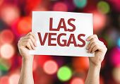 Las Vegas card with colorful background with defocused lights