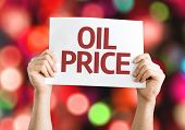 Oil Price card with colorful background with defocused lights