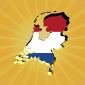 Netherlands sunburst map with flag illustration