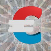 Euro symbol with Luxembourg flag on Euro currency illustration