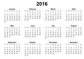 simple calendar 2016 sunday first