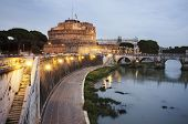 The Mausoleum of Hadrian, usually known as Castel Sant'Angelo in evening light. Rome, Italy