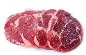 picture of veal meat  - Slices of meat on a white background - JPG