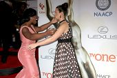 LOS ANGELES - FEB 6:  Uzo Aduba, Katie Lowes at the 46th NAACP Image Awards Arrivals at a Pasadena Convention Center on February 6, 2015 in Pasadena, CA