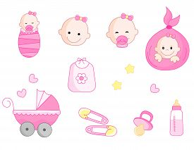 stock photo of pacifier  - Cute baby girl icon collection including baby face bib carriage safety pins pacifier feeding bottle isolated on white background - JPG