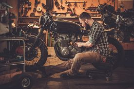 picture of cafe  - Mechanic building vintage style cafe - JPG