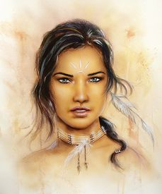 pic of airbrush  - A beautiful airbrush portrait of a young enchanting woman face with feathers and long dark hair looking directly up - JPG