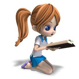 foto of little school girl  - cute little cartoon school girl reads a book - JPG