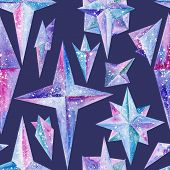 picture of indigo  - Abstract watercolor illustration with ice snowy star shapes on dark indigo background for fabric and wallpaper design - JPG