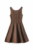 foto of white gown  - Brown dress with polka dots on white background - JPG