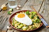 stock photo of millet  - stir fried millet with broccoli green beans and fried egg - JPG
