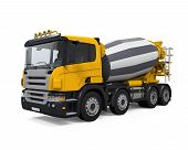 picture of concrete pouring  - Yellow Concrete Mixer Truck isolated on white background - JPG