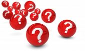 picture of bouncing  - Question mark symbol and sign on red bouncing glossy spheres 3d render isolated on white background - JPG