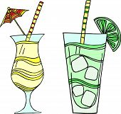 foto of pina-colada  - Set  of 2 colorful hand drawn vector illustrations of cocktails - JPG