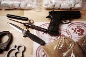 pic of smuggling  - Drug packages raw opium drug dozens and weapons seized by police - JPG