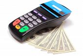 stock photo of terminator  - Payment terminal with contactless credit card and money on white background credit card reader payment terminal with cash finance concept - JPG