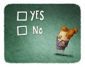 stock photo of yes  - woman take a decision between yes or no - JPG