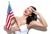 pic of independent woman  - Sexy woman salute with usa flag independence day - JPG