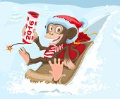 stock photo of sled  - Christmas monkey riding on a sled and keeps petard 2016 - JPG