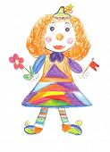 picture of circus clown  - Children drawing cheerful and colorful Circus clown - JPG