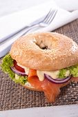picture of bagel  - bagel with salmon - JPG