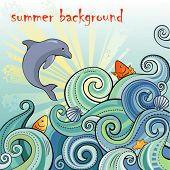picture of dolphin  - summer backgrpund with waves and dolphin - JPG
