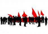 pic of anarchists  - People of anarchia with large flags on white background - JPG