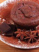 stock photo of chocolate muffin  - Homemade delicious fresh baked chocolate muffins with cocoa star anise and pieces of chocolate on white plate concept for dessert - JPG
