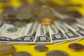 picture of copper coins  - Banknotes and coins on table close up  - JPG