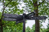 stock photo of memorial  - road sign indicating the direction for memorial fountain and memorial playground of Princess Diana - JPG