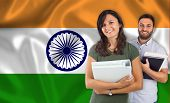 pic of indian flag  - Couple of young students with books over indian flag - JPG