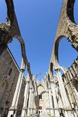 foto of carmelite  - The central nave of the Convento do Carmo in Lisbon - JPG