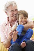 picture of cuddle  - Grandfather Cuddling Grandson On Garden Seat - JPG