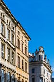 pic of tenement  - Facades of ancient tenements in the Old Town in Krakow Poland - JPG