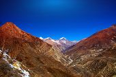 stock photo of snow capped mountains  - Snow capped mountains - JPG