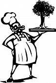 foto of serving tray  - Woodcut style image of a french chef serving a tree on a tray - JPG