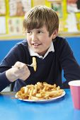 stock photo of school lunch  - Male Pupil Eating Unhealthy School Lunch - JPG