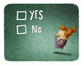 picture of women rights  - woman take a decision between yes or no - JPG