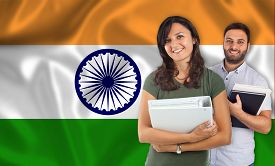 image of indian flag  - Couple of young students with books over indian flag - JPG