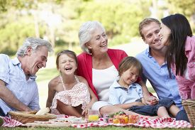 stock photo of grandparent child  - Multi Generation Family Enjoying Picnic Together - JPG