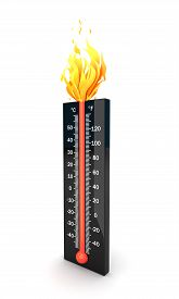 picture of temperature  - Black temperature meter with red cool to hot scale  - JPG