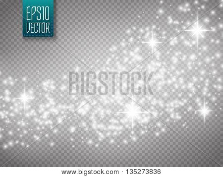 poster of Vector gold glitter wave abstract background. Silver glittering star dust trail sparkling particles on transparent background. Magic background