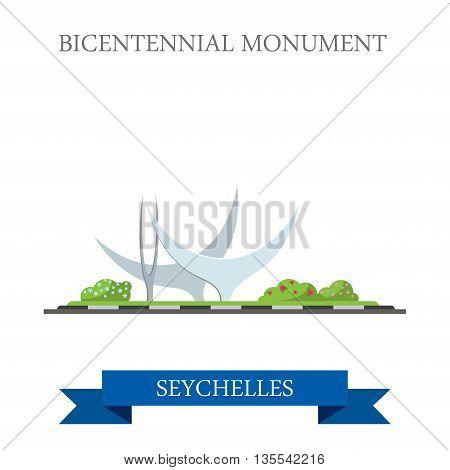 Bicentennial Monument in Seychelles Flat web vector illustration