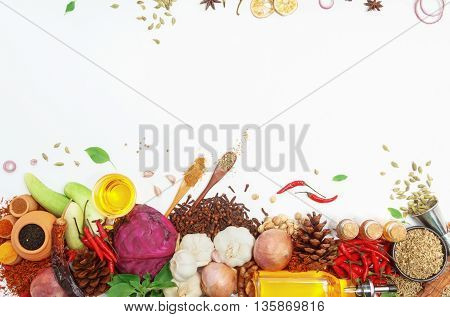 Постер, плакат: Spices And Herbs For Cooking Background And Design top View Spics And Herbs On White Background spic, холст на подрамнике