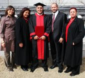Happy University Graduate With His Parents. International Student From South Africa At An Asian Uni